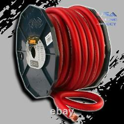 0 Gauge 50ft RED Power Ground OFC Wire Strand Copper Marine Cable 1/0 AWG USA