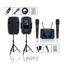 2-Way 12 2000W Powered PA DJ Speakers Heavy Duty Stands UHF Microphone System