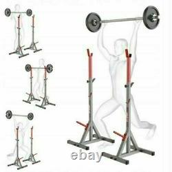 2pc adjustable weight rack gym squat barbell bar power stand lifting heavy duty