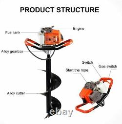 63CC Heavy Duty Gas Powered Post Hole Digger with 12 Inch Earth Auger Drill Bit