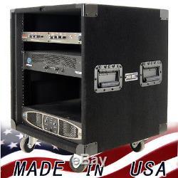 Amp Rack 12 U Space Heavy Duty on wheels for Power Amplifiers or Music Gear