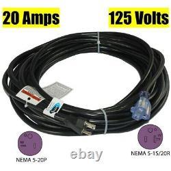 Conntek 20520-100 NEMA 5-20 20 Amp 125V SJTW 12/3 Power Extension Cord, 100ft