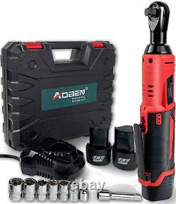 Cordless Electric Ratchet Wrench Set, AOBEN 3/8 12V Power Ratchet Tool Kit NEW