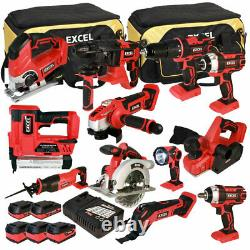 Excel 18V 12 Piece Cordless Power Tool Kit 5 x Batteries, Charger & Bag EXL5061