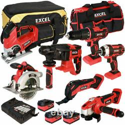 Excel 18V 7 Piece Power Tool Kit with 3 x 5.0Ah Batteries Charger & Bag EXL5046