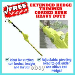 Extended Hedge Trimmer Corded Bush Heavy Duty Long Reach Powerful Lawn Shrub NEW