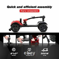 FOLD AND TRAVEL Electric 4 wheel Mobility Scooter Power Wheel chair Lightweight