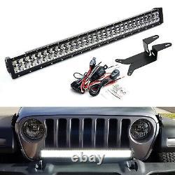 Front Bumper Mount 30 LED Light Bar Kit with Wire For 18-up Wrangler, Gladiator