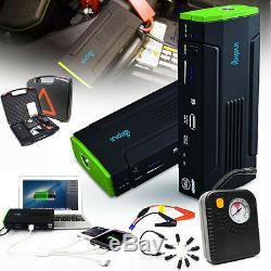 Heavy Duty 12800mAh USB 12V Emergency Jump Starter Power Bank Air Compressor Kit