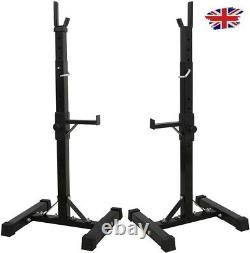 Heavy Duty Adjustable Gym Squat Rack Barbell Power Stand Weight Bench Support UK