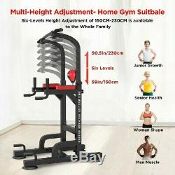 Heavy Duty Dip Station Chin Up Bar Power Tower Pull Push Home Gym Fitness Core A