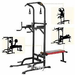 Heavy Duty Power Tower Pull Up Bar Dip Station with Sit Up Bench Home Gym Workout