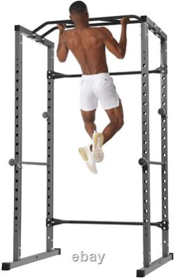Heavy Duty Squat Rack Power Rack Bench Press Weightlifting Workout Station Gray