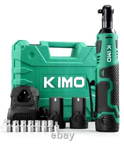 KIMO Cordless Electric Ratchet Wrench 3/8 40 Ft-lbs 400 RPM 12V Power 2 Battery
