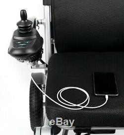 Lightweight Foldable Armrest Seat Back Height Adjusted Portable Power Wheelchair