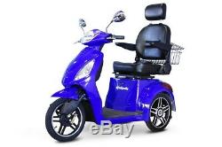 NEW E-Wheels EW-36 3-Wheel 500W High Power Electric Mobility Scooter, Blue