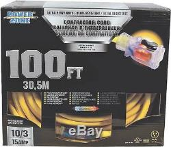 New In Box Power Zone 10/3 X 100' Foot Ultra Heavy Gauge Extension Cord 7594864