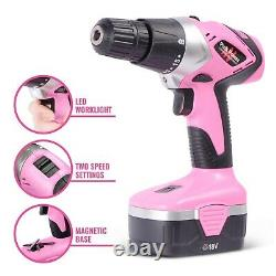 Pink Power 18V Cordless Drill Driver & Electric Screwdriver Combo Kit w Tool Bag