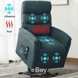 Power Lift Chair Massage Recliner Heat Vibration Sofa Reclining Heavy Duty withRC
