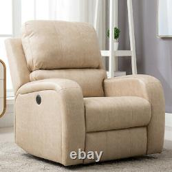 Power Recliner Chair Air Suede Overstuffed Heavy Duty Sofa Living Room with USB