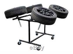 Power-Tec Alloy Wheel Painting Polishing Rotating Stand Heavy Duty 4 Wheels