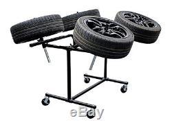 Power-tec Wheel Painting Polishing Rotating Stand Deluxe Heavy Duty 4 Wheels