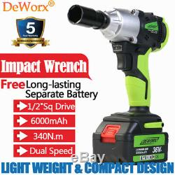 Powerful Ratchet Rattle Nut Gun Cordless Impact Wrench Heavy Duty Spare Battery