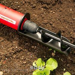 RotoShovel 22 Inch Electronic Handheld Lithium Ion Battery Powered Shovel, Red