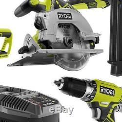 Ryobi 18V 6 Power Tool Set Combo Kit (2) Batteries Charger Heavy Duty P1974N NEW