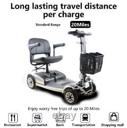 S01 250W 4-Wheel Compact Transportable Power Mobility Scooter, Silver