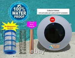 Solar powered Pool Ionizer LED on/off Reduce Chlorine 80% Heavy Duty