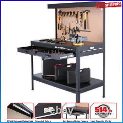 Steel Workbench with Light & Power Outlets Table Heavy Duty Garage Work Storage
