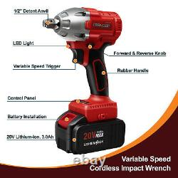 Toolman 2pc Batterie Cordless Lithium-ion Power Impact Wrench brushless 20V 16PC