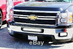 White Amber 120W LED Light Bar with Bracket/Wiring For 11-14 Silverado 2500/3500HD