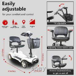 X01 4-Wheel Compact Transportable Power Mobility Scooter, White